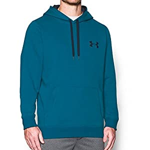 Under Armour Men's Rival Fleece Hoodie, Peacock/Midnight Navy, X-Large