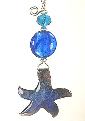 - Cobalt Blue Stardust Starfish Lampwork Glass Ceiling Fan Pull