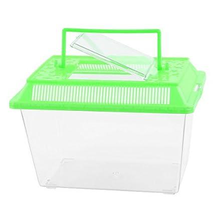 eDealMax Forma plástico Rectangular acuario Betta Fish Tank Alimento de Mascota Caja
