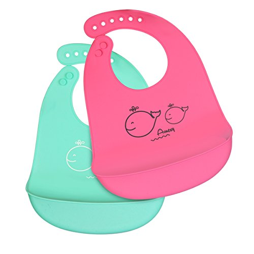 Sleeve Ruffle Bib (Silicone Baby Bib, Aonesy 2 Pack Waterproof Soft Feeding Bib Pocket with 6 Adjustable Snaps-Easily Cleans and Fast Drying,No BPA (Cyan/Pink))