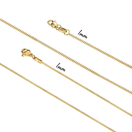 Besteel 2 Pcs Stainless Steel 1mm Snake Chain Box Chain Necklaces for Women Girls Gold-Tone Necklace 18 Inch