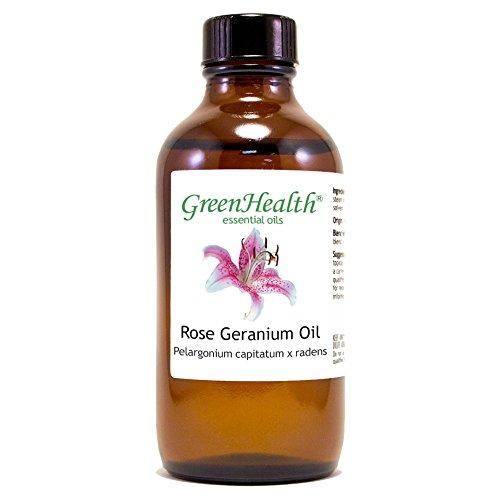 GreenHealth Rose Geranium - 4 fl oz (118 ml) Glass Bottle w/Cap - 100% Pure Essential Oil