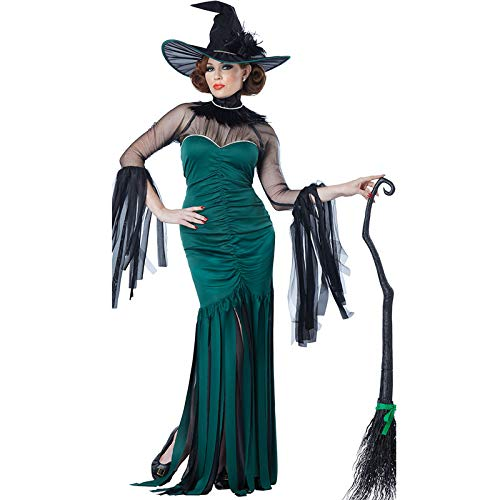 Simmia Halloween Costumes Halloween Adult Costume Fancy Dress Party Costume Cosplay Costume Role Playing Witch, Green, XL