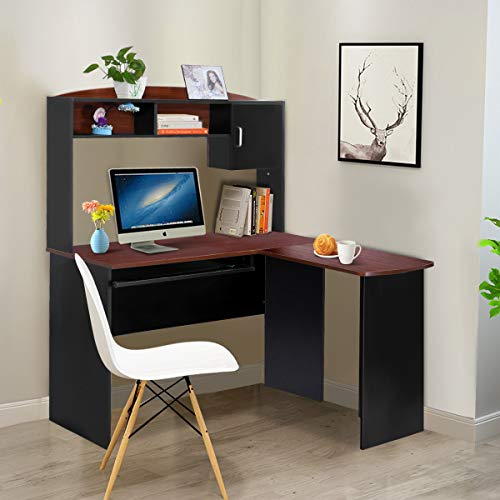 sk Corner Desk, Home Office Wood Workstation Space Saving Computer Desk with Spacious Wooden Surface, Sliding Keyboard Tray, Storage Shelves and Cabinet(Black & Brown) ()