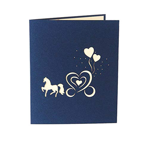 3D Pop Up Wedding Series Horse Carriage Shape Party Wedding Invitation Greeting Cards Anniversary Souvenirs Cards (Wedding Invitations Horse)