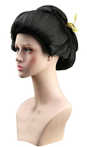 Geisha Wig Adult (Japanese Geisha Wig Women, Adult Halloween Okuni Cosplay Hairpiece Black Masquerade Accessory (One Average Size))
