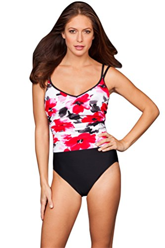 Miraclesuit Floral Bouquet Bethany Fauxkini One Piece Swimsuit Size 10 by Miraclesuit