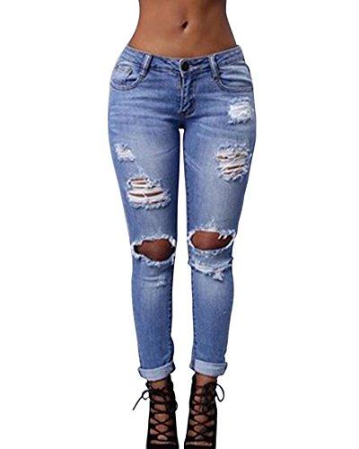 Casuales Azul Cintura Slim Skinny Elásticos Mujer Kasen Rasgados Pantalones Claro Alta Vaqueros nwq41a0v