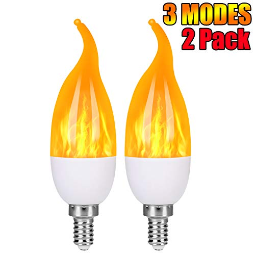 Three Light Candelabra - Severino - LED Flame Effect Light Bulbs - 3 Modes Flickering Flame Candelabra Light Bulbs,E12 Base Fire Bulbs for Home/Store/Hotel/Bar Party Decoration (2 Pack)
