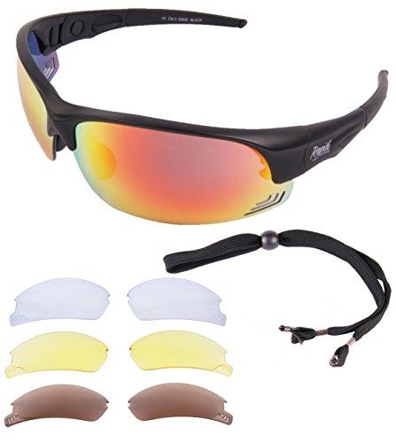 Rapid Eyewear Edge Black UV400 CYCLING & RUNNING SUNGLASSES With Interchangeable Polarized, Clear & Low Light Lenses. Anti Fog Blue Light Blocking Sports Glasses for Men & - Sunglasses Bespoke