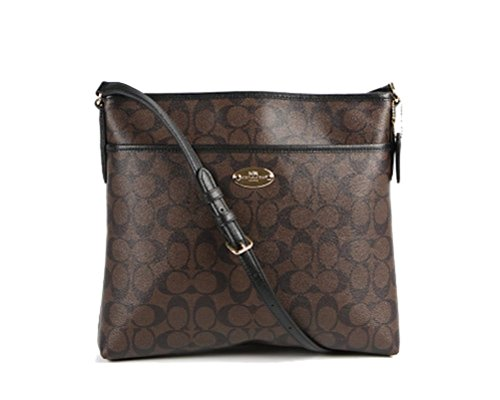 Coach Signature File Bag - Brown/Black