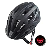 LANOVAGEAR Adjustable Youth Adult Bike Mountain Road Cycling Helmet with Rechargeable LED Safety Light Safety Protection CPSC Certified for Men Women with Detachable Visor (Black, L) For Sale