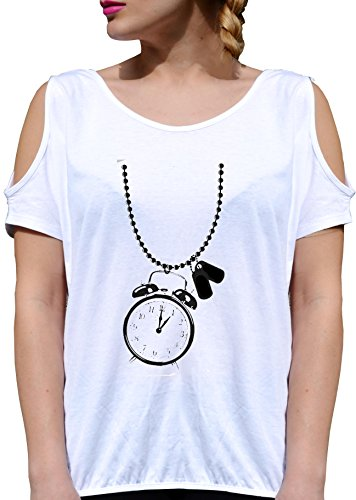 T SHIRT JODE GIRL GGG27 Z1765 ALARM CLOCK NECKLACE POP AMERICA FUNNY TIME FASHION COOL BIANCA - WHITE S