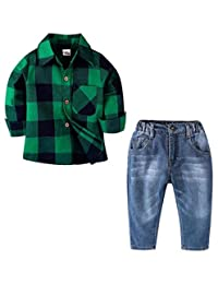 SUPEYA Kids Baby Boys Gentlemen Long Sleeve Plaid Shirts Denim Pants 2Pcs Set