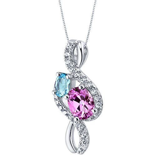 (Swiss Blue Topaz and Created Pink Sapphire Sterling Silver Chorus Pendant Necklace)