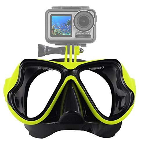 QUICATCH New for DJI Osmo Action for GoPro Xiaomi for SJCAM Sport Camera Professional Underwater Camera Diving Mask Scuba Snorkel Swimming Goggles (Yellow) (Go Pro Hero 4 Dive Mask)