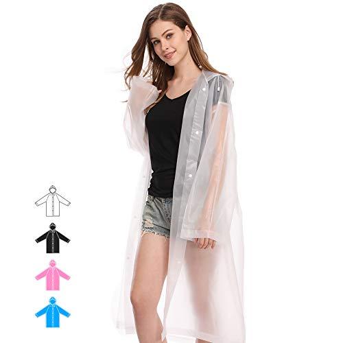 Hapshop Portable Waterproof Raincoat,Rain Poncho,Rainwear for Adult (White-2Pack)