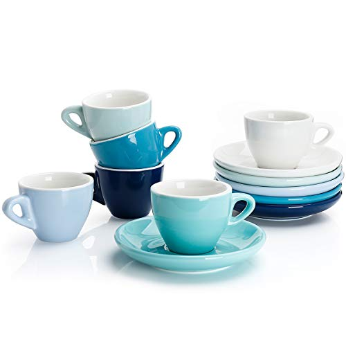 Sweese 401.003 Porcelain Espresso Cups with Saucers - 2 Ounce - Set of 6, Cool Assorted Colors (Demitasse Cup Only Flat)