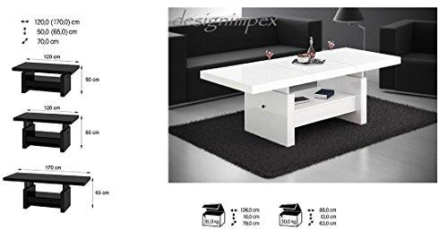 Design Couchtisch Aversa H 111 Weiss Hochglanz Schublade