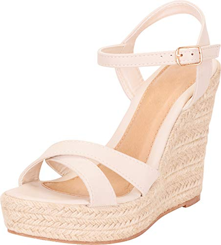 Cambridge Select Women's Crisscross Strappy Chunky Espadrille Platform High Wedge Sandal,6 B(M) US,Beige -