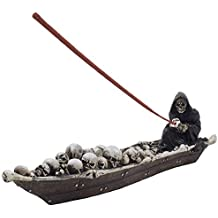 Home-n-Gifts 12-inch Scary Grim Reaper in Fishing Boat of Skulls Incense Holder, Multi-colored