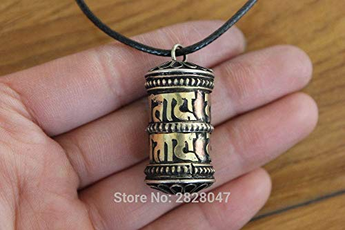 Prayer Pendant | Brass Antiqued/Wheel Prayer/Box Gau Amulet Handmade 15mm