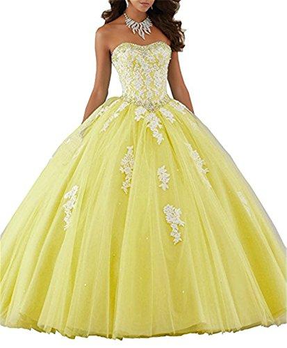 JINGDRESS Long Sweet 16 Dresses Beaded Sweetheart Quinceanera Dresses Lace Appliques Yellow