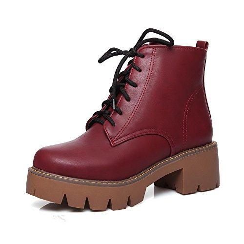 A&N Womens Trekking Trekking Round Toe Imitated Leather Boots Claret Oz10G