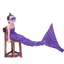Mermaid Tail Blanket for Kids, Warm and Soft Fish-Scale Knitted Sofa Blanket All Seasons Sleeping Bag,Panda Santa (Scale-Purple)