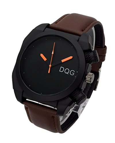 ion Casual Leather Analog Quartz Wrist Watch Square Dial Big Face Waterproof Sport Watches - Deep Coffee Strap Black Dial (Leather Square Analog)