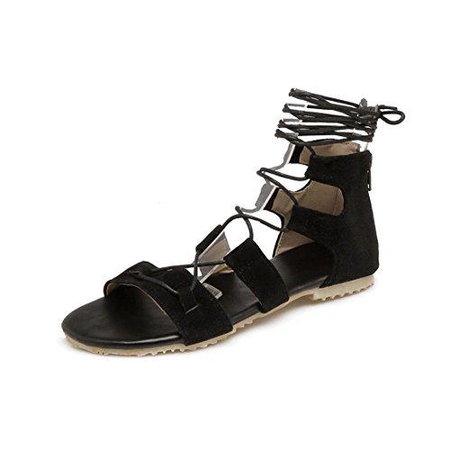 AIKAKA Zapatos de Mujer Spring Summer Sandals Strap Student Flats Black