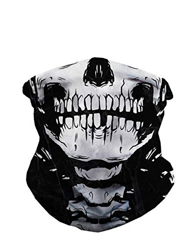 Skeleton Bandana Halloween (iHeartRaves Skeleton X-Ray Skull Multi-functional Seamless Rave Mask)
