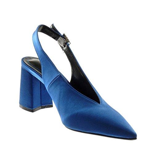 Angkorly Damen Schuhe Pumpe - Dekollete - Open-Back - Schleife - Strass Blockabsatz High Heel 85 cm
