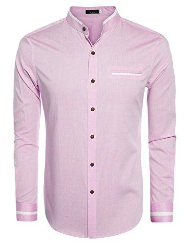 JINIDU Mens Casual Long Sleeve Mandarin Collar Button down Shirt (Collar Pink Mandarin Dress)