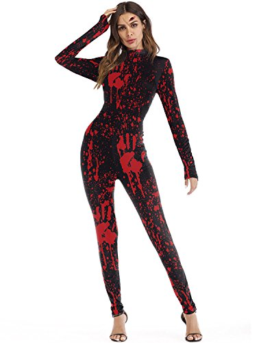New Halloween Scary Costumes Catsuit for Women Playsuit Party Back Zipper Bloody Hand Print Jumpsuits Red