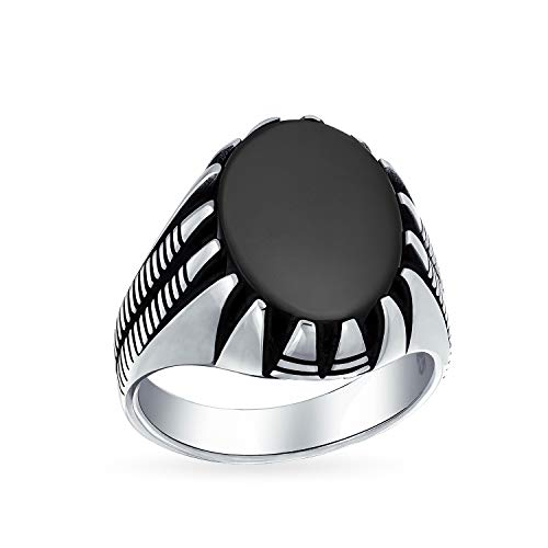 Mens Claw Set Large Oval Cabochon Gemstone Black Onyx Ring For Men Solid Oxidized 925 Silver Handmade In Turkey ()