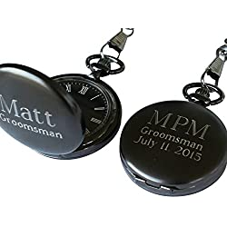 Personalized Monogrammed Quartz Gunmetal Pocket Watch with C