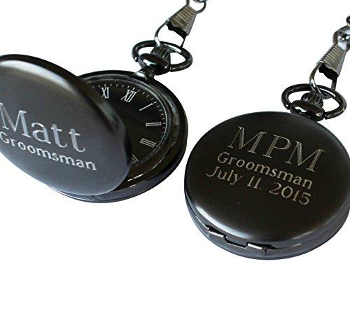 Mens Personalized Metal Watch (Personalized Monogrammed Quartz Gunmetal Pocket Watch with C)