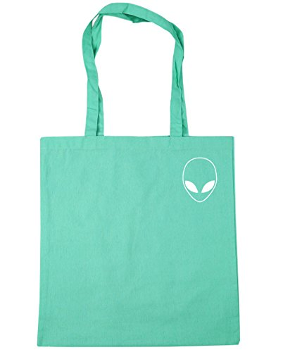 10 Bag x38cm Beach HippoWarehouse Alien head Shopping Tote Mint litres pocket 42cm Gym nrSWvxny