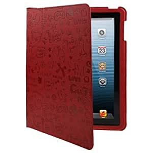 Magic Girl Pattern Ultrathin Leather Case with Holder for New iPad (iPad 3) / iPad 4 (Red)