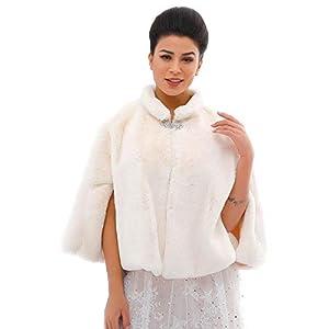 Ushine – Scialle e stola da sposa in finta pelliccia, per donne e ragazze