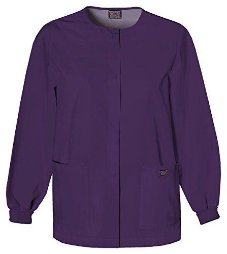 Cherokee Women's Traditional Snap Front Warm-Up Jacket_Eggplant_XXXX-Large,4350