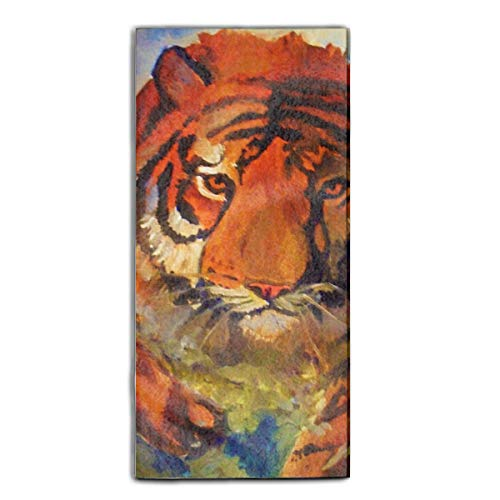 (Pouncing Tiger Printed Guest Hand Towels Fingertip Towels Super Absorbent Washcloth 11.8 × 27.5