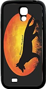 Rikki KnightTM German Sheperd Dog Silhouette By Moon Design Samsung\xae Galaxy S4 Case Cover (Black Hard Rubber TPU with Bumper Protection) for Samsung Galaxy S4