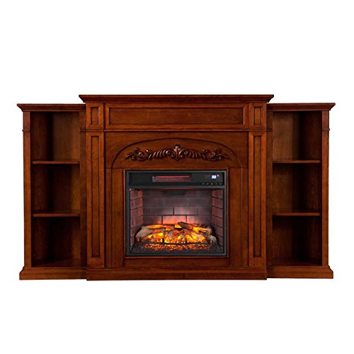 Southern Enterprises Dunlap Bookcase Infrared Electric Fireplace, Autumn Oak Finish