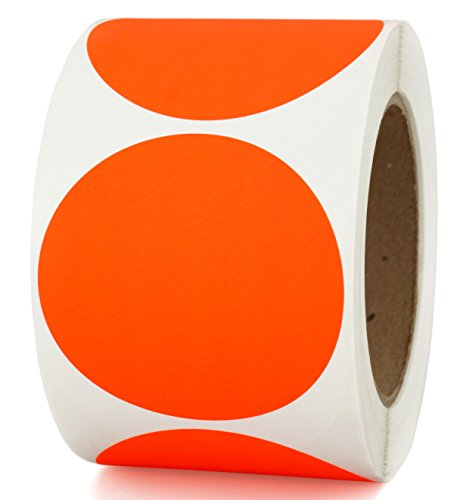 "3"" Fluorescent Red-Orange, Color Coding Sticker Dots 
