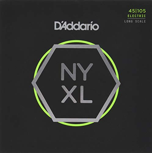 D'Addario NYXL45105 Nickel Wound Bass Guitar Strings, Light Top/Med Bottom, 45-105, Long Scale