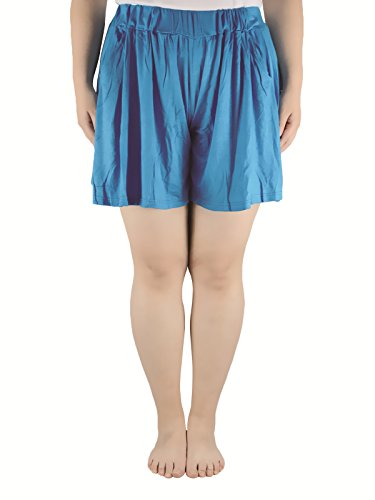 Azue Women's Cute Flared Summer Leisure Pocket Skorts Comfy Modal Pleated Shorts Plus Size Blue 5XL (US Size: 4X Plus-5X Plus)