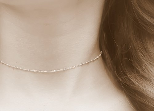 Amazoncom Thin Gold necklace Dainty Beaded Satellite Chain Gold