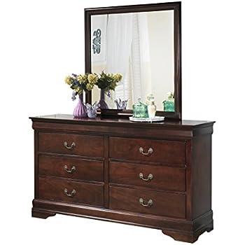 ashley esmarelda dresser mirror in dark merlot kitchen dining. Black Bedroom Furniture Sets. Home Design Ideas